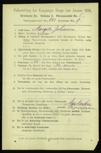 Image from object titled Folketelling 1891 - Kristiania - personsedler - side 159868