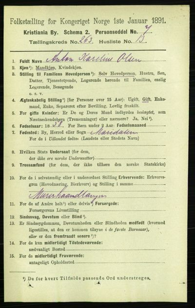 Image from object titled Folketelling 1891 - Kristiania - personsedler - side 159901