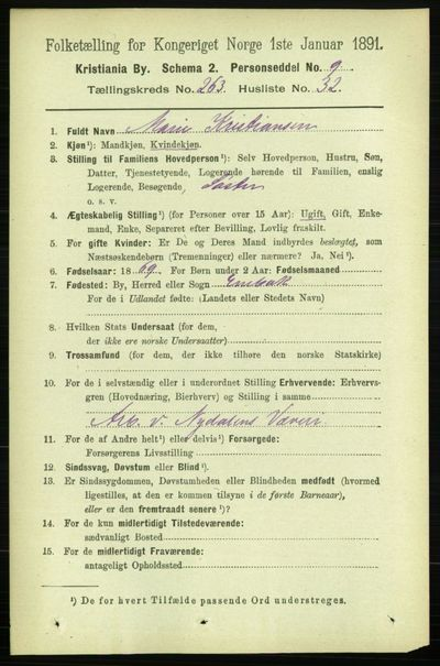 Image from object titled Folketelling 1891 - Kristiania - personsedler - side 160077