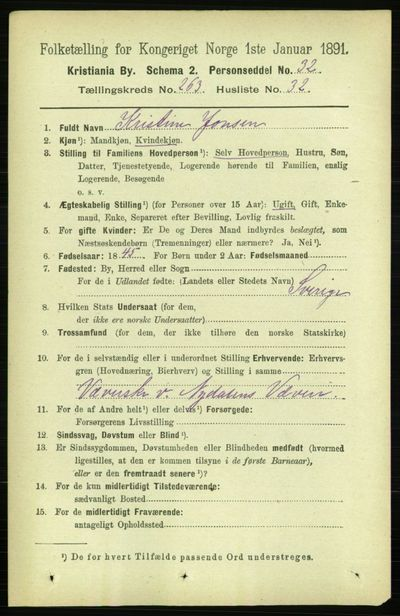 Image from object titled Folketelling 1891 - Kristiania - personsedler - side 160100