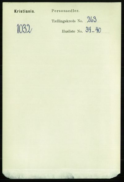 Image from object titled Folketelling 1891 - Kristiania - personsedler - side 160150