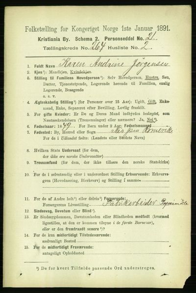 Image from object titled Folketelling 1891 - Kristiania - personsedler - side 160384