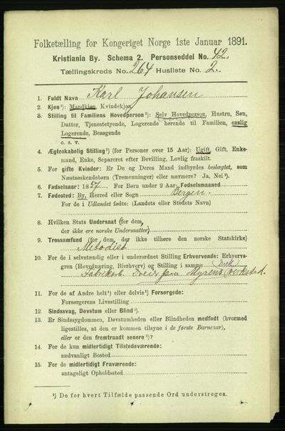 Image from object titled Folketelling 1891 - Kristiania - personsedler - side 160405