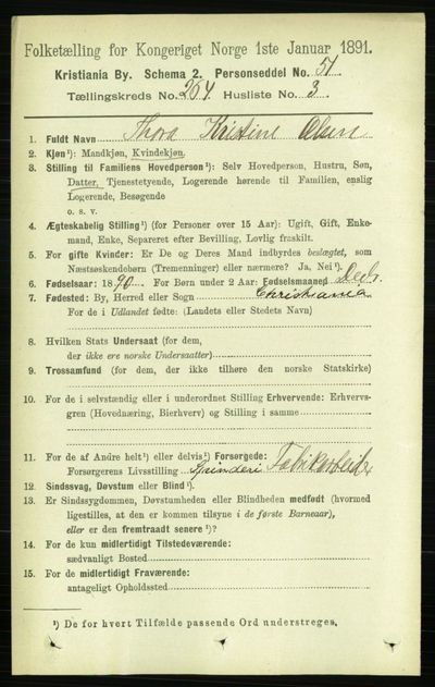 Image from object titled Folketelling 1891 - Kristiania - personsedler - side 160496