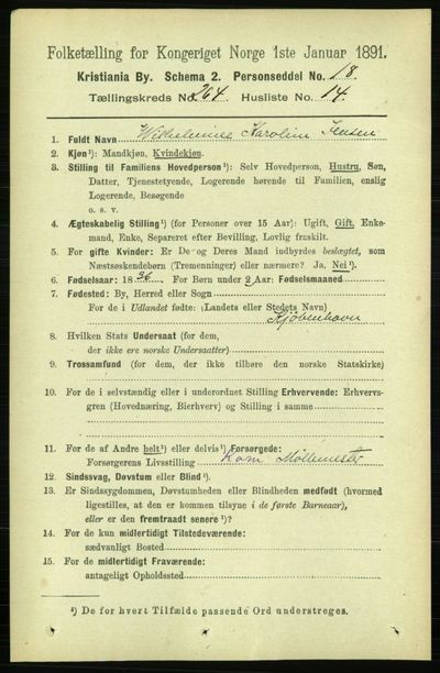 Image from object titled Folketelling 1891 - Kristiania - personsedler - side 160780