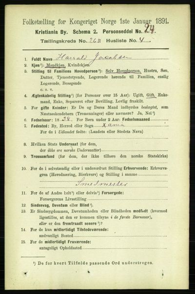 Image from object titled Folketelling 1891 - Kristiania - personsedler - side 161032