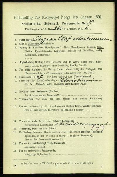 Image from object titled Folketelling 1891 - Kristiania - personsedler - side 161296