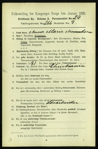 Image from object titled Folketelling 1891 - Kristiania - personsedler - side 161417