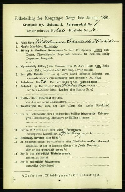 Image from object titled Folketelling 1891 - Kristiania - personsedler - side 161432