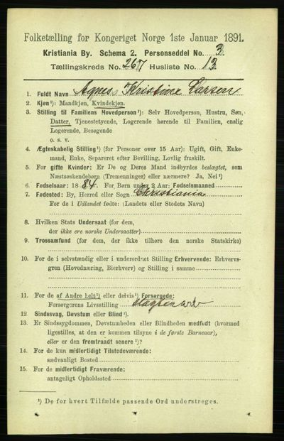 Image from object titled Folketelling 1891 - Kristiania - personsedler - side 161702