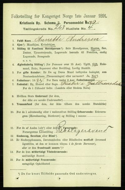 Image from object titled Folketelling 1891 - Kristiania - personsedler - side 162095