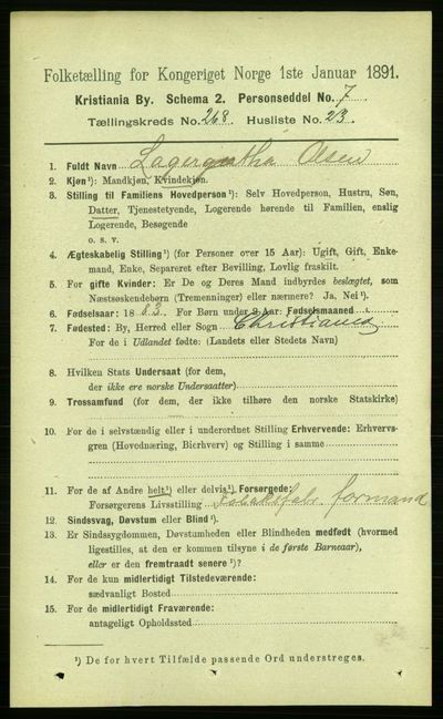 Image from object titled Folketelling 1891 - Kristiania - personsedler - side 162749