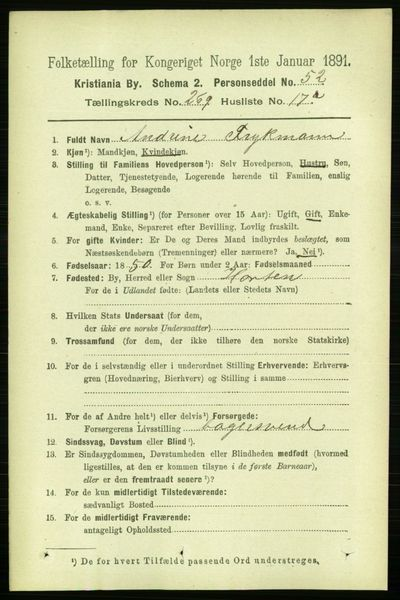 Image from object titled Folketelling 1891 - Kristiania - personsedler - side 163569