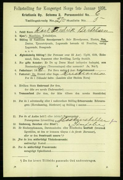 Image from object titled Folketelling 1891 - Kristiania - personsedler - side 164125