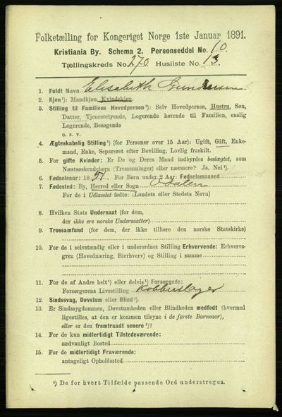 Image from object titled Folketelling 1891 - Kristiania - personsedler - side 164278