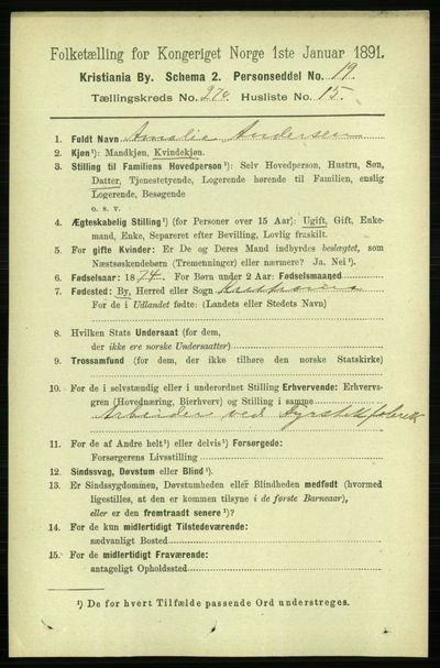 Image from object titled Folketelling 1891 - Kristiania - personsedler - side 164330