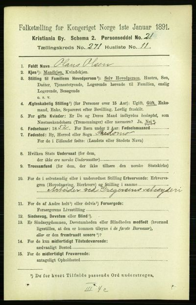Image from object titled Folketelling 1891 - Kristiania - personsedler - side 164887
