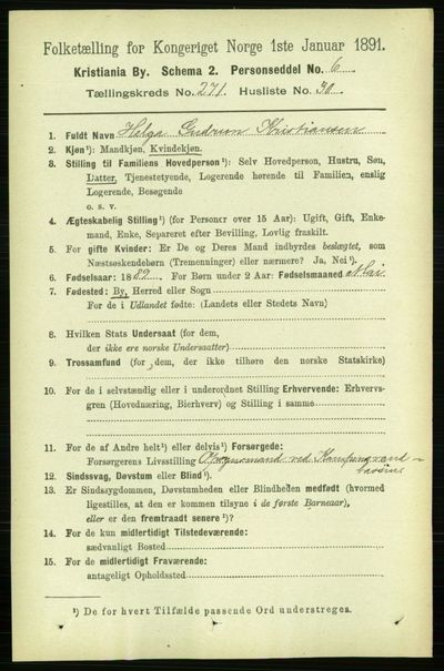 Image from object titled Folketelling 1891 - Kristiania - personsedler - side 165087