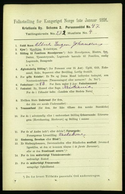 Image from object titled Folketelling 1891 - Kristiania - personsedler - side 165322