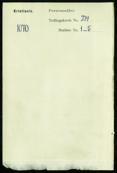Image from object titled Folketelling 1891 - Kristiania - personsedler - side 166400