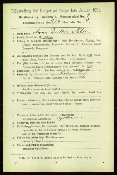 Image from object titled Folketelling 1891 - Kristiania - personsedler - side 166551