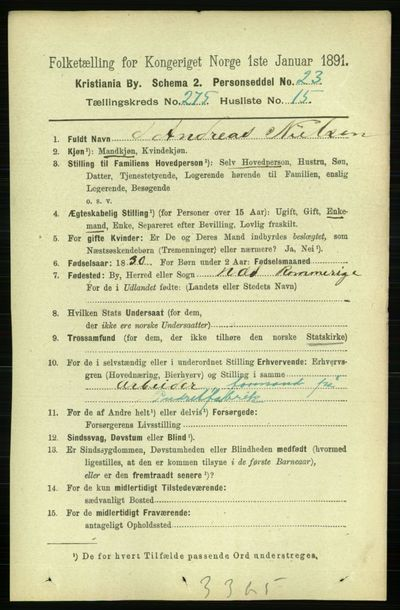 Image from object titled Folketelling 1891 - Kristiania - personsedler - side 167331