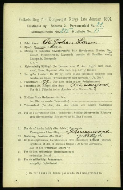 Image from object titled Folketelling 1891 - Kristiania - personsedler - side 167337