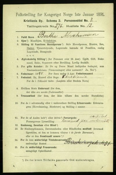 Image from object titled Folketelling 1891 - Kristiania - personsedler - side 167640