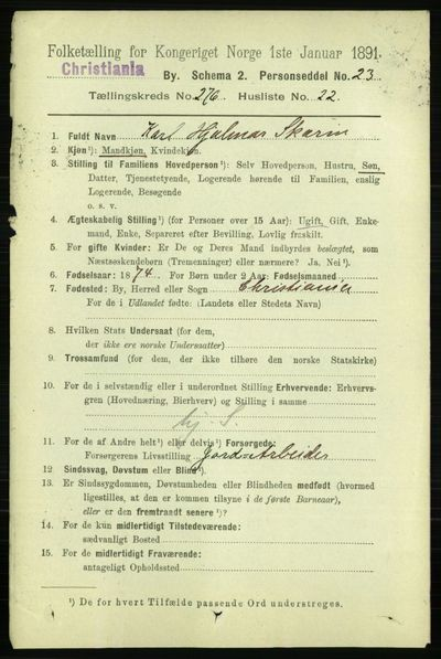 Image from object titled Folketelling 1891 - Kristiania - personsedler - side 167885