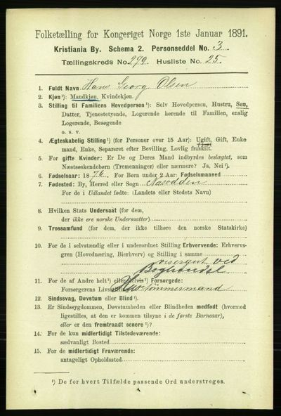 Image from object titled Folketelling 1891 - Kristiania - personsedler - side 169907