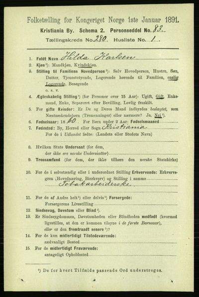 Image from object titled Folketelling 1891 - Kristiania - personsedler - side 170104