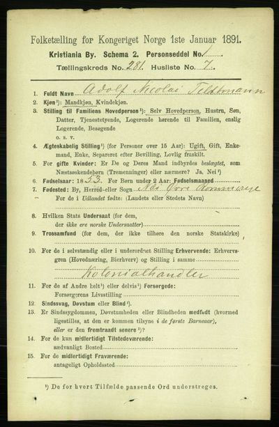 Image from object titled Folketelling 1891 - Kristiania - personsedler - side 171019