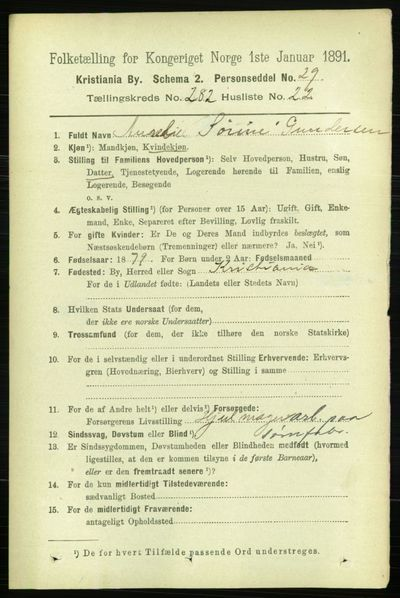 Image from object titled Folketelling 1891 - Kristiania - personsedler - side 172404
