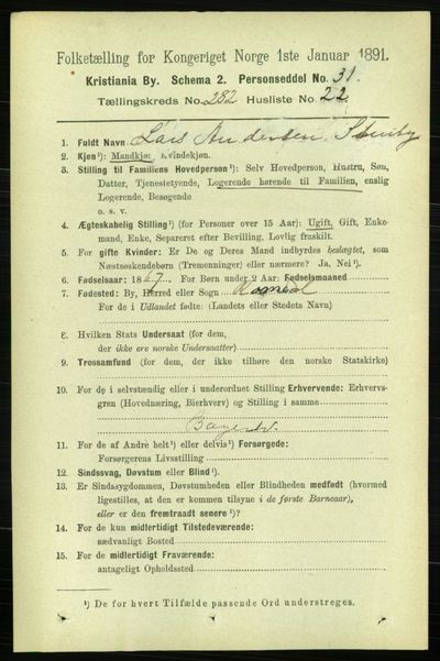 Image from object titled Folketelling 1891 - Kristiania - personsedler - side 172406