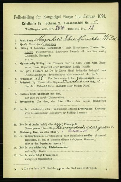 Image from object titled Folketelling 1891 - Kristiania - personsedler - side 173745