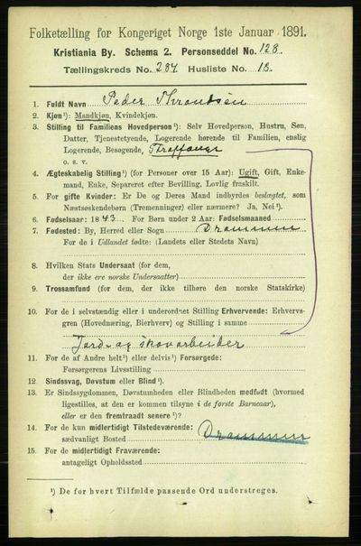Image from object titled Folketelling 1891 - Kristiania - personsedler - side 173956