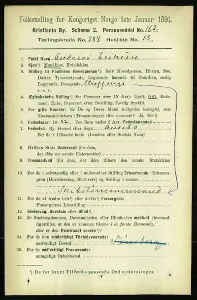 Image from object titled Folketelling 1891 - Kristiania - personsedler - side 173990