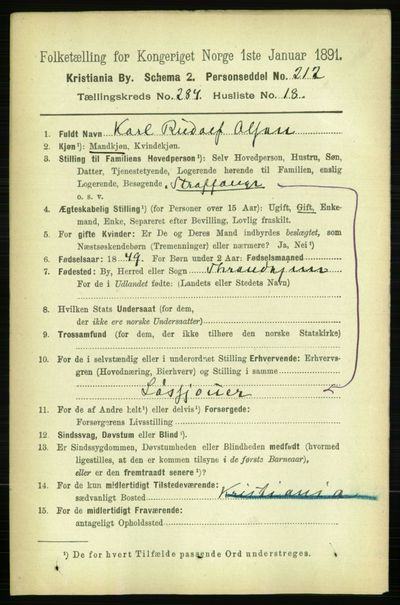 Image from object titled Folketelling 1891 - Kristiania - personsedler - side 174040