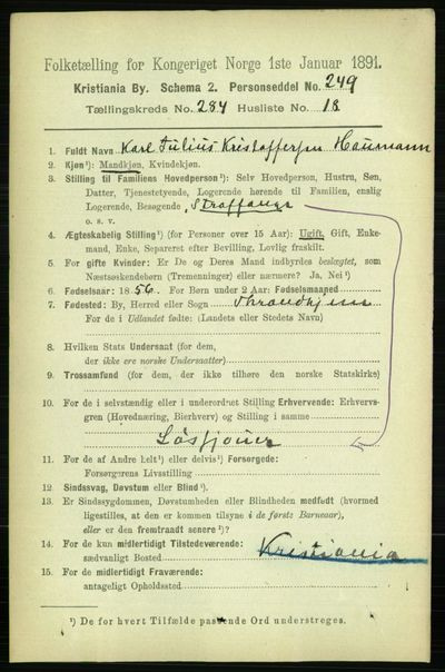 Image from object titled Folketelling 1891 - Kristiania - personsedler - side 174077