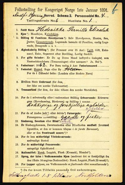 Image from object titled Folketelling 1891 - Nordfold-Kjerringøy - personsedler - side 1412