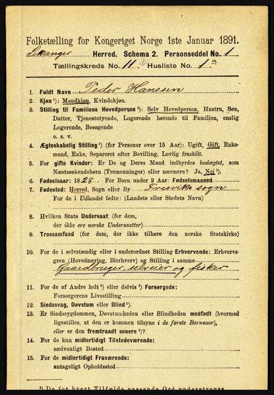 Image from object titled Folketelling 1891 - Leikanger - personsedler - side 1969