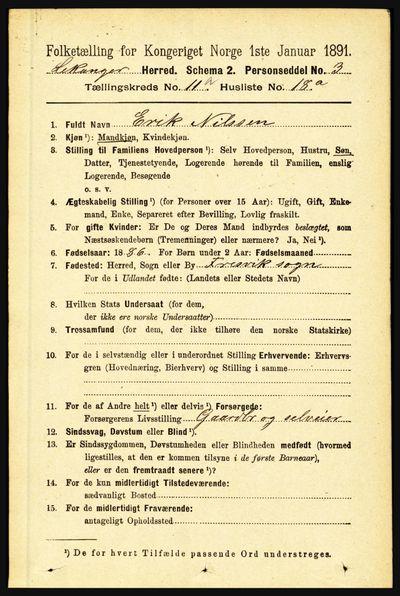 Image from object titled Folketelling 1891 - Leikanger - personsedler - side 2077