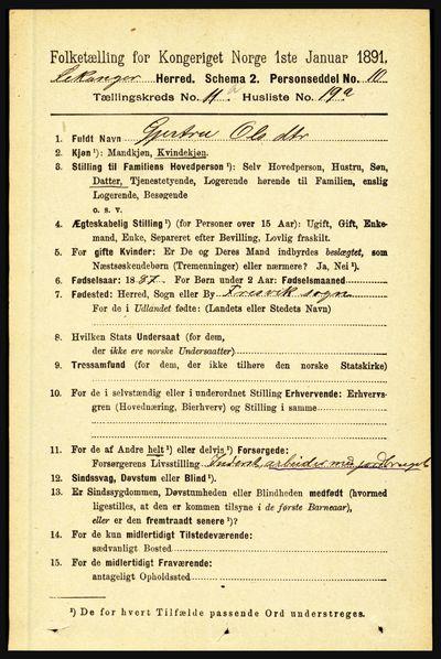 Image from object titled Folketelling 1891 - Leikanger - personsedler - side 2091