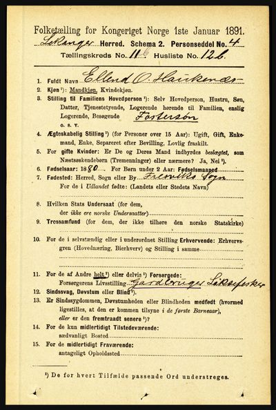 Image from object titled Folketelling 1891 - Leikanger - personsedler - side 2225