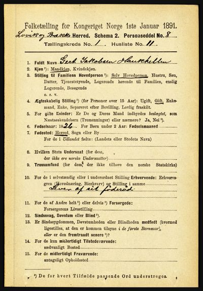 Image from object titled Folketelling 1891 - Lavik og Brekke - personsedler - side 144