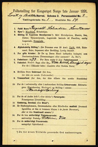 Image from object titled Folketelling 1891 - Lavik og Brekke - personsedler - side 166