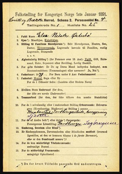 Image from object titled Folketelling 1891 - Lavik og Brekke - personsedler - side 218