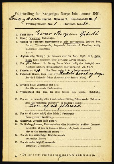 Image from object titled Folketelling 1891 - Lavik og Brekke - personsedler - side 250