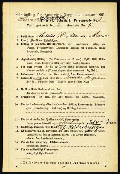 Image from object titled Folketelling 1891 - Lavik og Brekke - personsedler - side 311