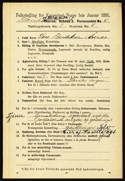 Image from object titled Folketelling 1891 - Lavik og Brekke - personsedler - side 312